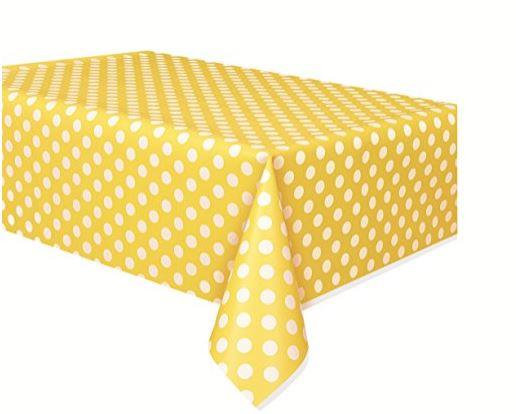 Sarı Puantiyeli Masa Örtüsü Plastik