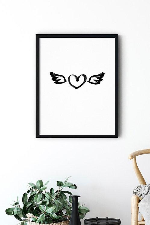 Kanatlı Kalp Tablo Poster
