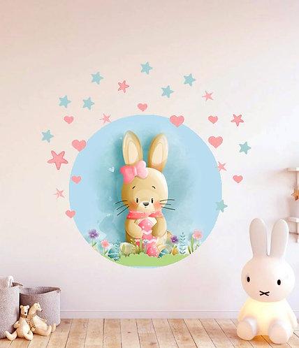 Çiçekli Tavşan Duvar Sticker Çıkartma 2