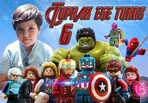 Lego Avengers Temalı Doğum Günü Afiş