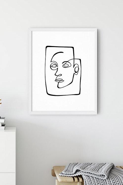 Line Art Face Tablo Poster
