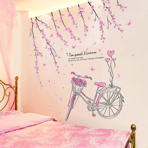 Pembe Bisiklet ve Çiçekler Duvar Sticker Çıkartma