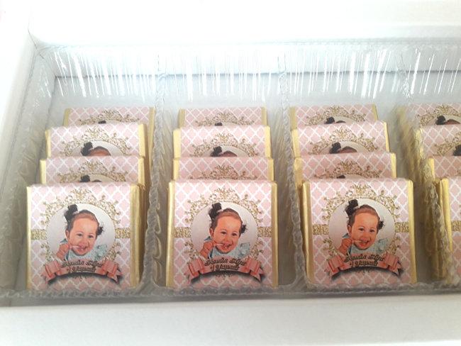 Somon Pembe Altın Temalı Doğum Günü Hediyelik Çikolata