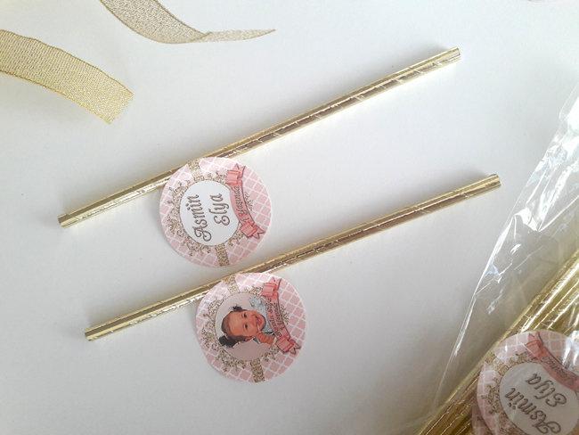 Somon Pembe Altın Temalı Doğum Günü Pipet