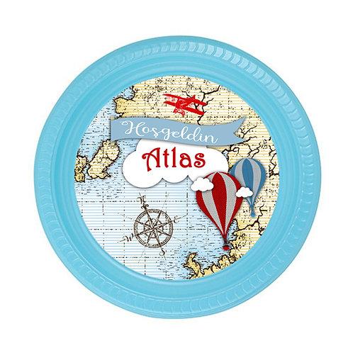 Atlas Harita Balon Uçak Doğum günü Tabak