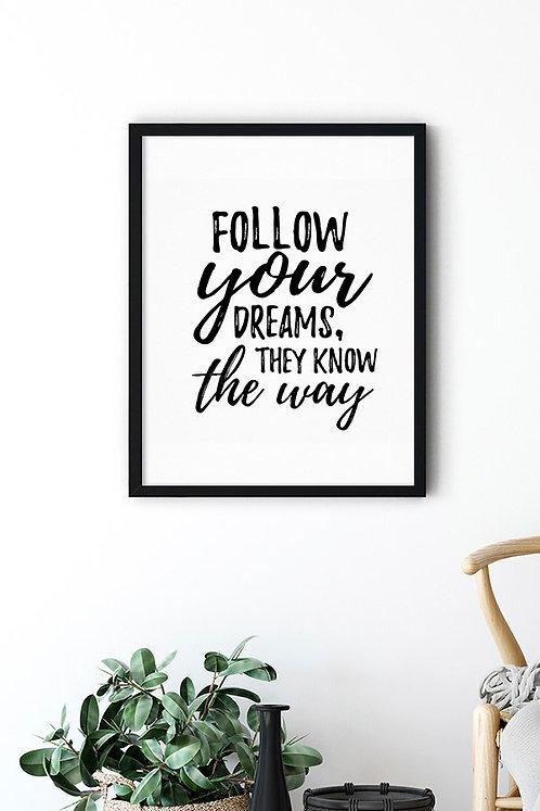 Dreams Motto Tablo Poster Kanvas
