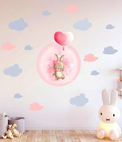 Balonlu Tavşan Duvar Sticker Çıkartma