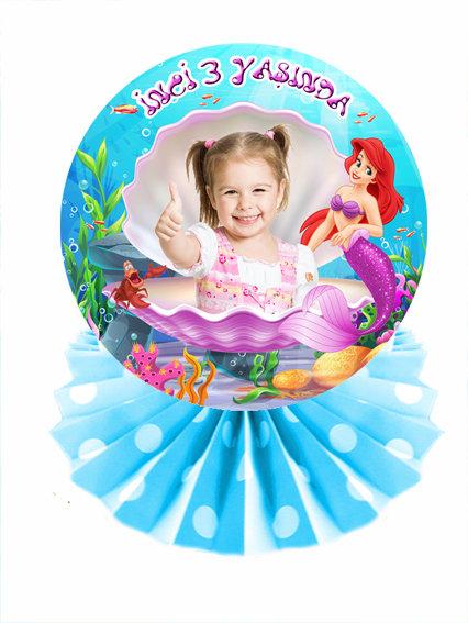 Deniz Kızı Ariel Temalı Doğum Günü Masa Dekor Süs