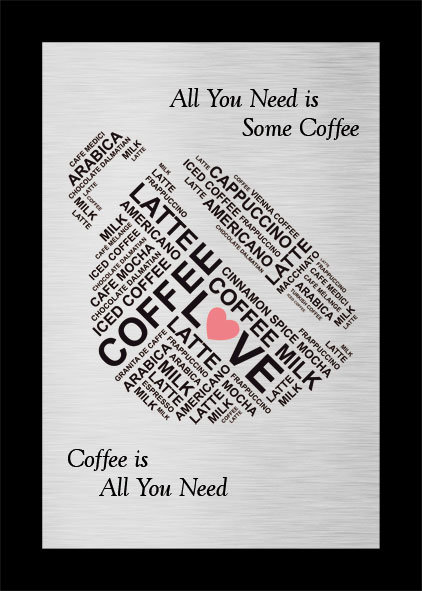 Kahve Aşkı Mutfak Metal Baskılı Tablo