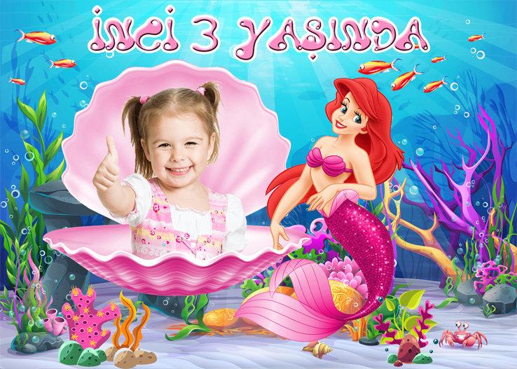 Deniz Kızı Ariel Temalı Pembe Afiş