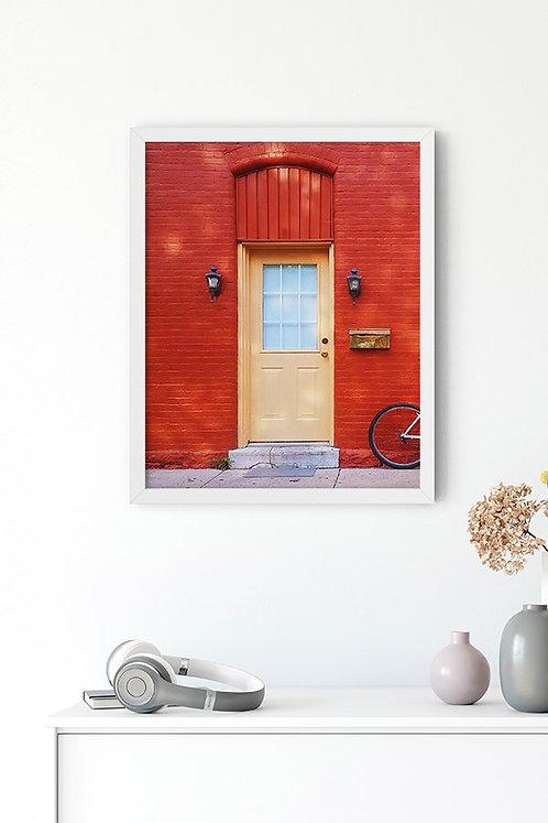 Kırmızı Duvar Tablo Poster