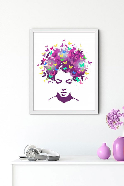Kadın Kelebekler Tablo Poster Kanvas 3