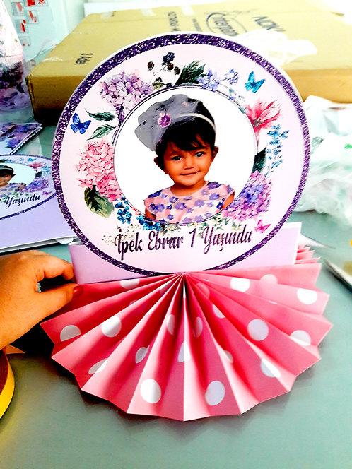 Lila Vintage Çiçek  Temalı Doğum Günü Masa Dekor Süs