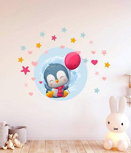 Uçan Balonlu Penguen Duvar Sticker Çıkartma