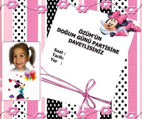 Minnie Mouse Doğum günü Davetiye
