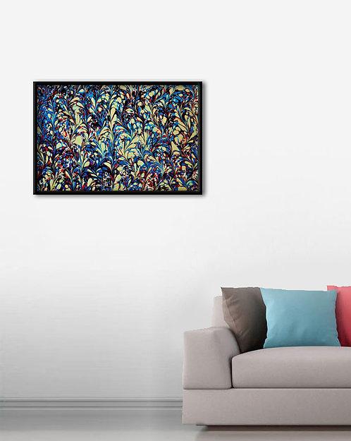Ebru Sanatı Mavi Kırmızı Tablo Poster Kanvas