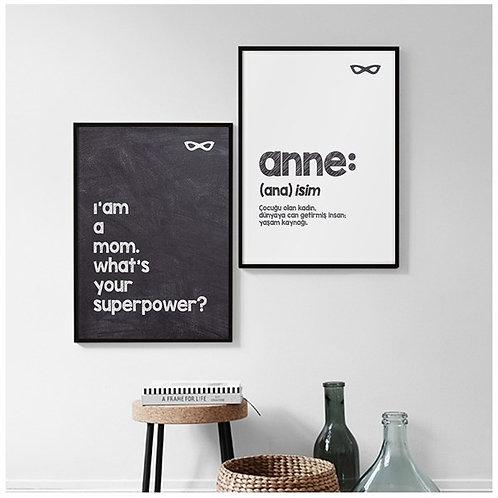 Anne Motto 2li Tablo Poster Kanvas Seti
