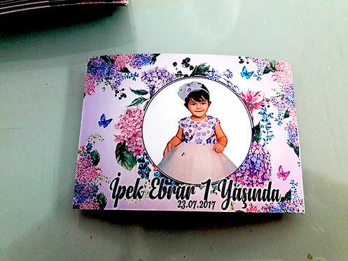 Lila Vintage Çiçek Temalı Hediyelik Magnet