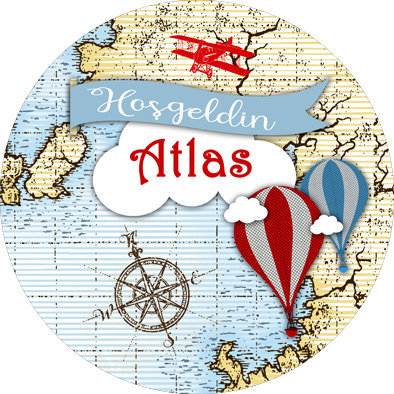Atlas Harita Balon Uçak Temalı Doğum Günü Sticker Etiket