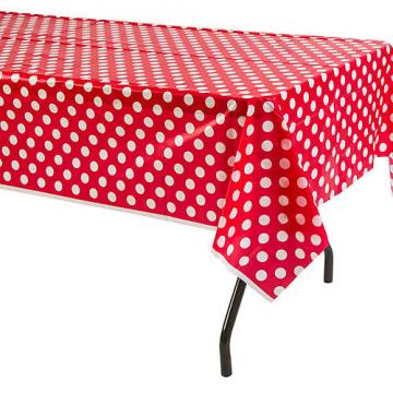 Kırmızı Puantiyeli Masa Örtüsü Plastik