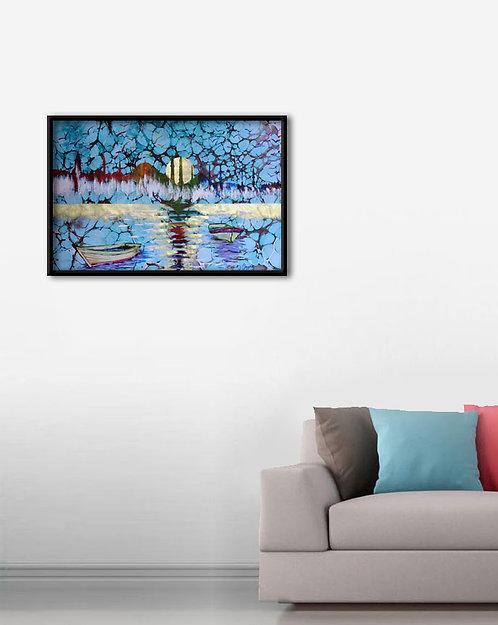 Ebru Sanatı Mavi Kırmızı Tablo Poster Kanvas 2