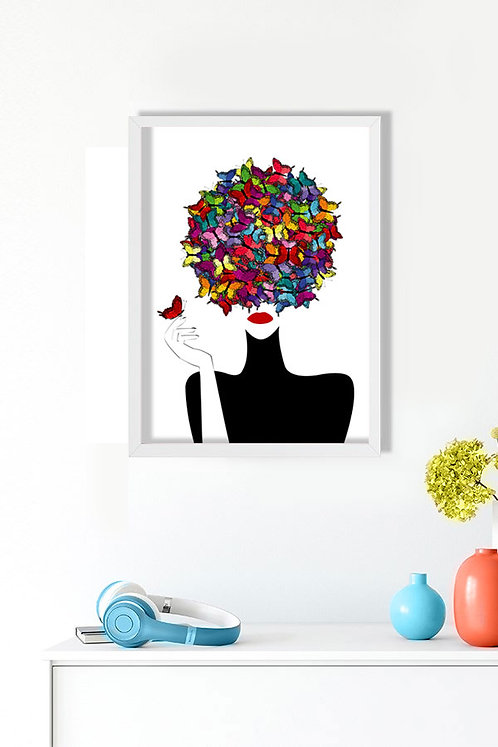 Kelebek Kadın Tablo Poster