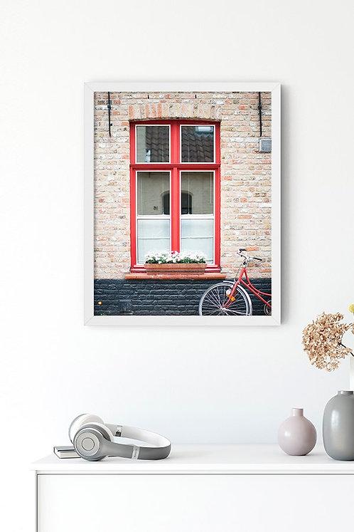 Kırmızı Pencere Tablo Poster