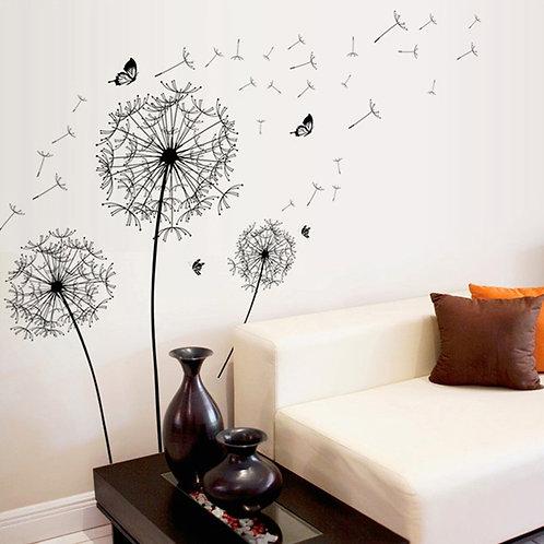 Kara Hindiba Çiçeği Ev Duvar Sticker Çıkartma