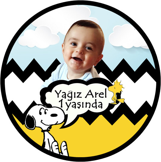 Snoopy Peanuts Temalı Doğum Günü Sticker Etiket