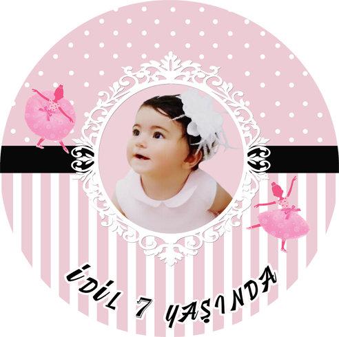 Balerin Temalı Doğum Günü Sticker Etiket