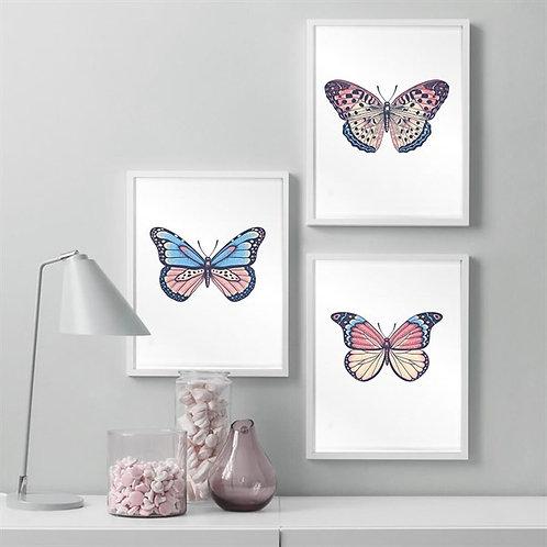 Butterflies 3lü Tablo Poster Kanvas Seti