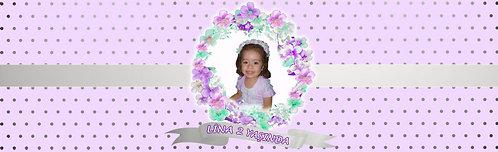 Çiçek Lila Gümüş Su ve Meşrubat Etiketi