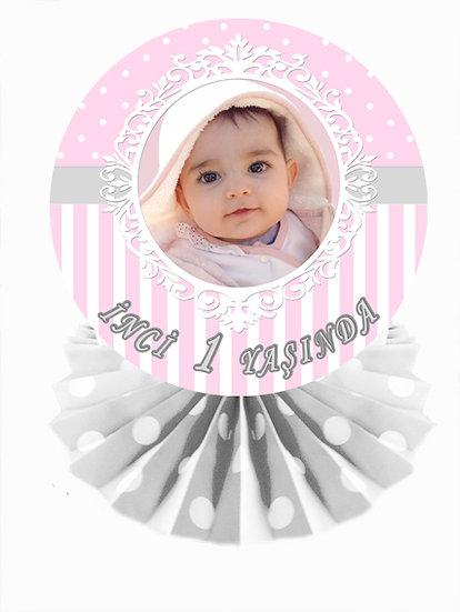 Pembe Gri Temalı Doğum Günü Masa Dekor Süs