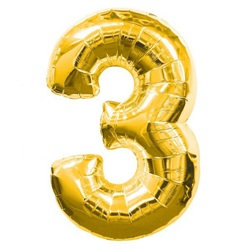 3 Rakam Gold Folyo Balon