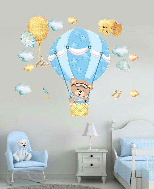 Uçan Balon Ayıcık Duvar Sticker Çıkartma