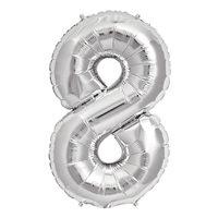 8 Rakam Gümüş Folyo Balon