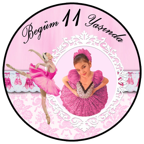 Balerin Fuşya Temalı Doğum Günü Sticker Etiket