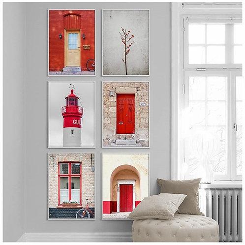 Kırmızı 6lı Tablo Poster Kanvas Seti