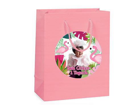 Flamingo Pembe Temalı Doğum Günü Hediye Çantası