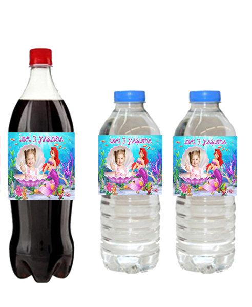 Deniz Kızı Ariel Temalı Su ve Meşrubat Etiketi
