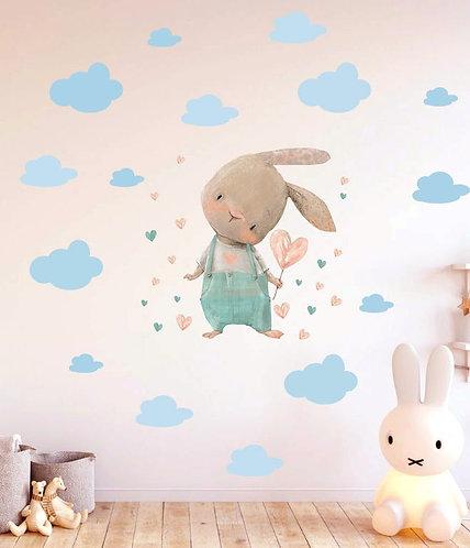 Sevimli Tavşan Kalp Balonlu Duvar Sticker Çıkartma Mavi