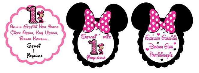 Minnie Mouse Fuşya Temalı Doğum Günü Konuşma Balonu