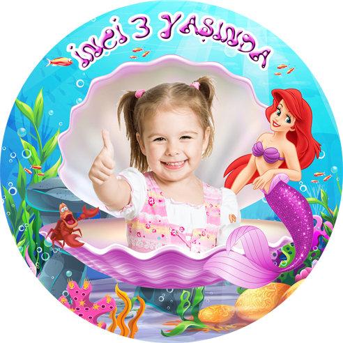Deniz Kızı Ariel Temalı Doğum Günü Sticker Etiket