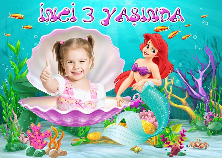 Küçük Deniz Kızı Ariel Yeşil Temalı Doğum Günü