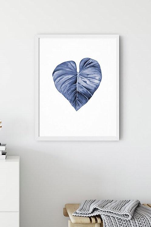 Blue Leaf 3 Tablo Poster