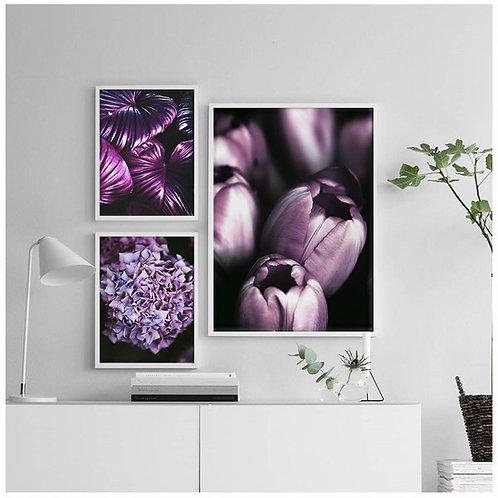 Mor Çiçekler Tablo Poster Kanvas Seti