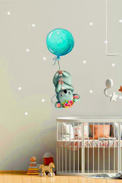 Uçan Koala Balonlu Duvar Sticker Çıkartma