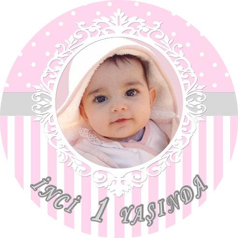 Pembe Gri Temalı Doğum Günü Sticker Etiket