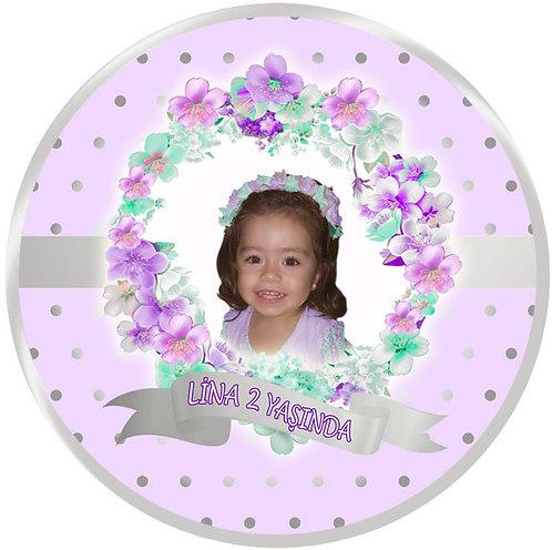 Çiçek Lila Gümüş Doğum Günü Sticker Etiket