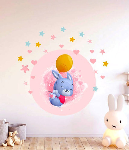 Uçan Balonlu Tavşan Duvar Sticker Çıkartma